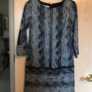 Black and white shift dress with